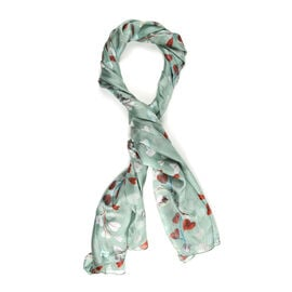 LA MAREY Pure 100% Mulberry Silk Heart-shaped Vines Pattern Scarf  (Size 180x110cm) - Green