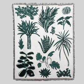 Jacquard Woven Palm Tree Printed Throw with Fringes (Size 150x126 Cm ) - Green & Ivory