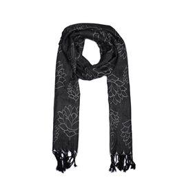 Black Colour Metallic Floral Pattern Scarf (Size 50x180 Cm)