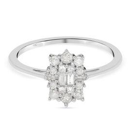 9K White Gold SGL Certified Diamond (G-H/I3) Ring 0.50 Ct.