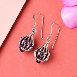 Monster Deal - Sajen Silver GEM HEALING Collection - Amethyst Hook Earrings in Rhodium Overlay Sterling Silver 9.92 Ct