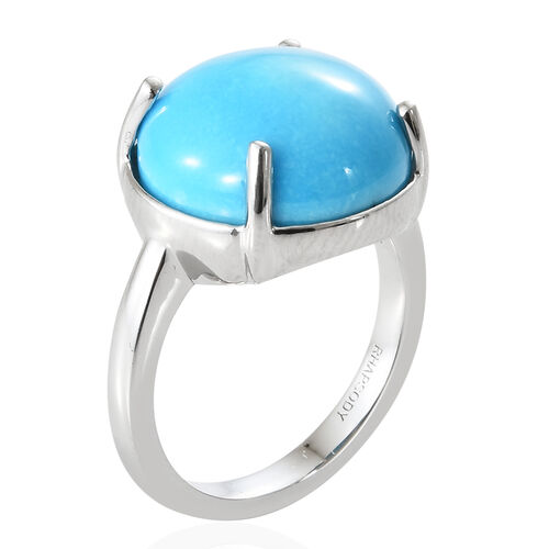 RHAPSODY 950 Platinum AAAA Arizona Sleeping Beauty Turquoise (Rnd) Solitaire Ring 8.250 Ct, Platinum wt 6.23 Gms.