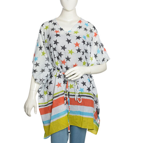 Summer Special - White, Black and Multi Colour Stars Printed Kaftan (Free Size)
