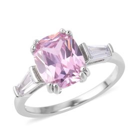 ELANZA Simulated Pink Diamond (Cush 10x8 mm), Simulated Diamond Ring in Rhodium Overlay Sterling Sil