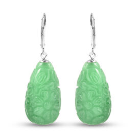 Floral Carved Green Jade Lever Back Earrings in Sterling Silver 96.85 Ct.