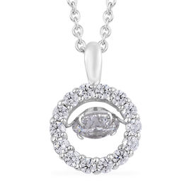 J Francis - Platinum Overlay Sterling Silver (Rnd) Dancing Pendant With Chain (Size 18) Made With SWAROVSKI ZIRCONIA