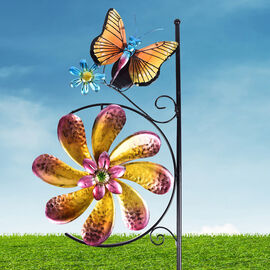 Garden Theme Wind Spinner with Solar Light (Size 28x7x117cm) - Butterfly