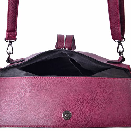 Celina Berry Red Crossbody Bag with Adjustable and Removable Strap (Size 24x19.5x6 Cm)