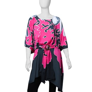 LA MAREY 100% Rayon Women Poncho and Coconut Shell Belt - Pink and Grey