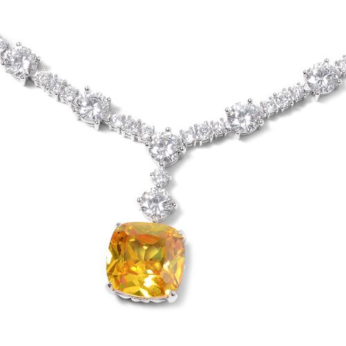 Lustro Stella Simulated Yellow Diamond (Cush) and Simulated Diamond Necklace (Size 18.25) in Rhodium Overlay Sterling Silver, Silver wt. 34 Grams