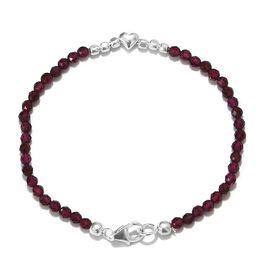 AA Rhodolite Garnet (Rnd) Beads Bracelet (Size 7.5) in Sterling Silver 24.00 Ct.
