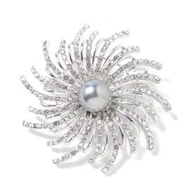 Simulated Pearl (Rnd), White Austrian Crystal Brooch
