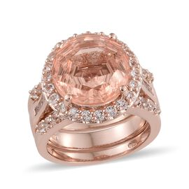 Laser Cut Galileia Blush Quartz (Rnd 14mm, 10.30 Ct), White Topaz Ring in Rose Gold Overlay Sterling Silver 13.000 Ct. Silver wt 11.38 Gms.