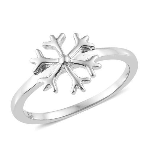 Platinum Overlay Sterling Silver Snowflake Ring, Silver wt. 1.94 Gms.