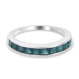Teal Grandidierite Half Eternity Band Ring in Sterling Silver 1.00 Ct