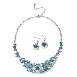 2 Piece Set - Blue and White Austrian Crystal Necklace (Size 20 with 4 inch Extender) and Hook Earri