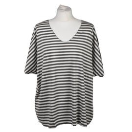 Misumi Super Soft Oversized V-Neck Stripe Short Sleeve Top in Khaki (Size up to 18)