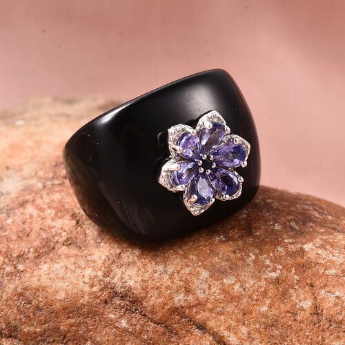 Black Onyx, Tanzanite and Madagascar Blue Sapphire Floral Ring in Rhodium Overlay Sterling Silver 51.80 Ct.