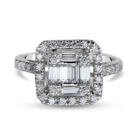 Moissanite Ring in Rhodium Overlay Sterling Silver 1.14 Ct.