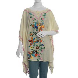 Designer Inspired- Hand Embroidery Kaftan (Size 88x102 Cm) - Cream Colour