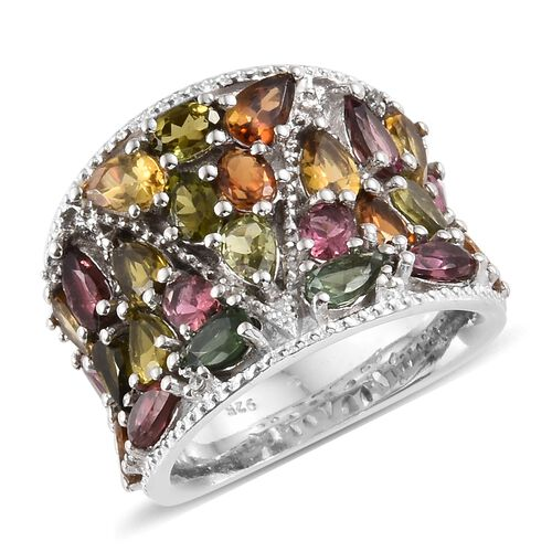 AA Rainbow Tourmaline (Pear and Ovl), Natural Cambodian Zircon Ring in Platinum Overlay Sterling Sil