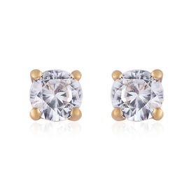 1.25 Carat Cambodian Zircon Stud Solitaire Earrings in Gold Plated Sterling Silver