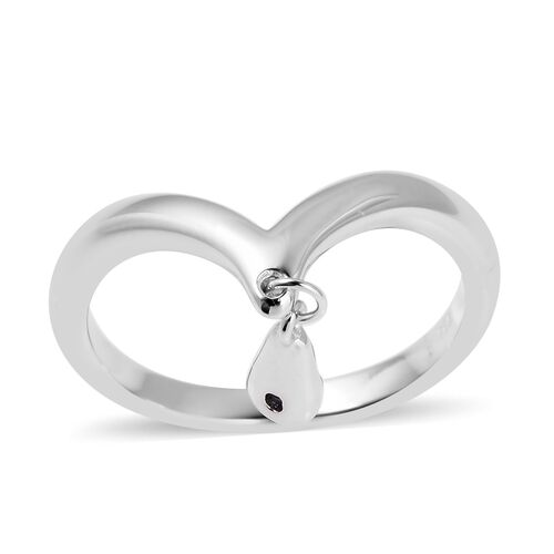 LucyQ Madagascar Blue Sapphire (Rnd) Wishbone Ring With Drip Charm in Rhodium Overlay Sterling Silver