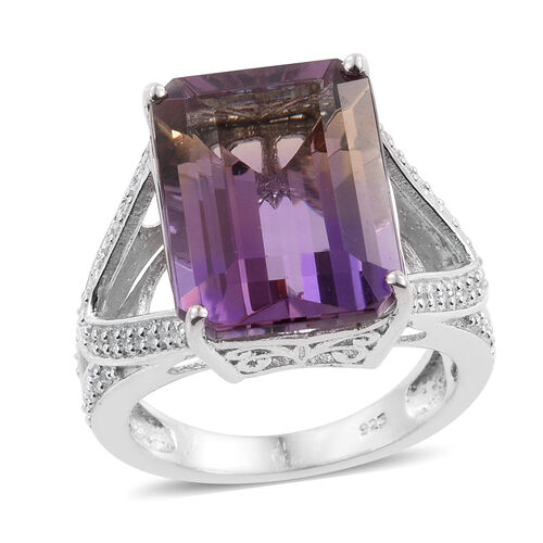 Anahi Ametrine (Oct), Natural Cambodian Zircon Ring in Platinum Overlay Sterling Silver 11.500 Ct.