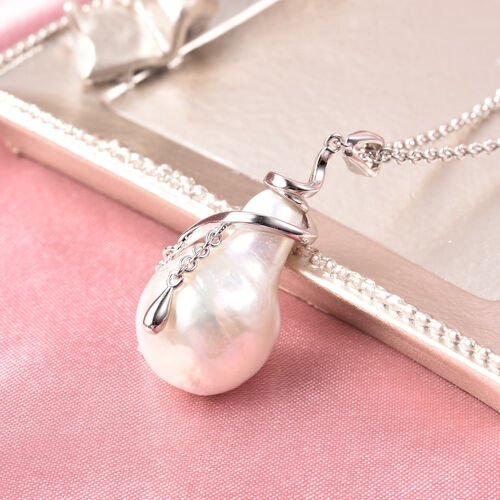 LucyQ - Freshwater White Baroque Pearl Pendant with Chain (Size 20) in Rhodium Overlay Sterling Silv