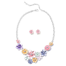 2 Piece Set - White Austrian Crystal Multi Colour Enamelled Floral Necklace (Size 20 with 2 inch Ext