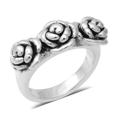 Floral Ring in Thai Sterling Silver 5.81 Grams