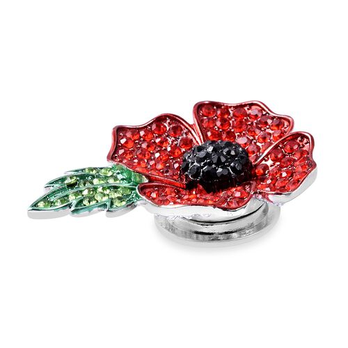 TJC Poppy Design Multi Colour Austrian Crsytal Enamelled Poppy Flower Magnetic Brooch