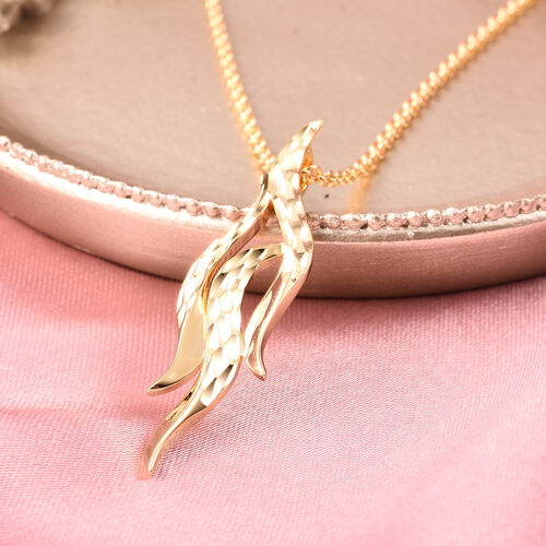 LucyQ Flame Collection - Yellow Gold Overlay Sterling Silver Pendant with Chain (Size 20)