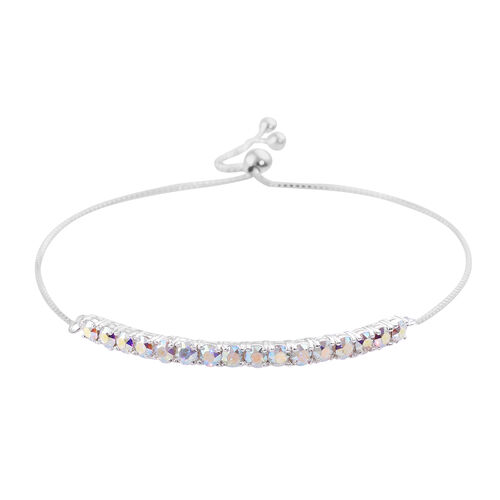 J Francis -Crystal from Swarovski AB Crystal (Rnd) Bracelet (Size 9.5 Adjustable) in Sterling Silver