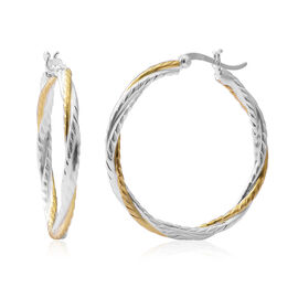 Gold Overlay Sterling Silver Hoop Earrings (with Clasp), Silver wt 5.48 Gms.