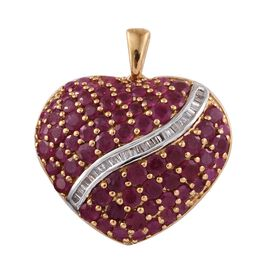 AAA African Ruby (Rnd), Diamond Heart Pendant in 14K Gold Overlay Sterling Silver 9.250 Ct. Silver w