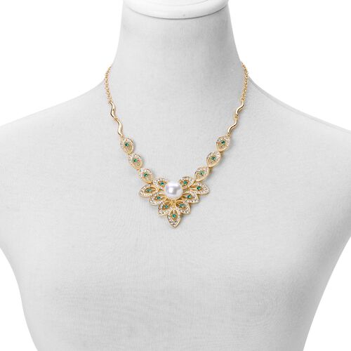 AAA Green and White Austrian Crystal and Simulated Pearl Necklace (Size 20 with 1 inch Extender) and Earrings (with Push Back) in Yellow Gold Tone
