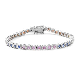 5.69 Ct Rainbow Sapphire Tennis Bracelet in Rhodium Plated Silver 11.70 Grams 7.5 Inch