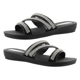 Ella Grace Diamante Slip on Sandals in Black Colour