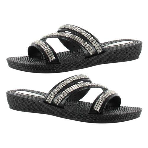 Ella Grace Diamante Slip on Sandals (Size 4) - Black