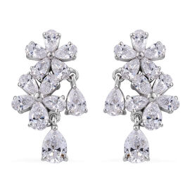 J Francis Made with Swarovski Zirconia Floral Drop Earrings in Sterling Silver 5 Grams