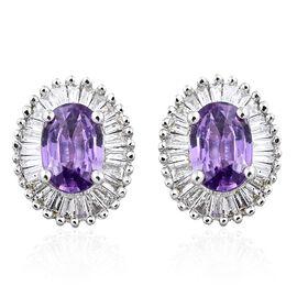 ILIANA 18K White Gold Natural Unheated Purple Sapphire (Ovl), Diamond (SI/G-H) Stud Earrings (with S