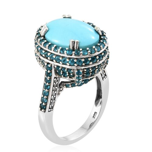 Arizona Sleeping Beauty Turquoise (Ovl 8.50 Ct), Malgache Neon Apatite and Natural Cambodian Zircon Ring in Platinum Overlay Sterling Silver 12.000 Ct, Silver wt 8.50 Gms.