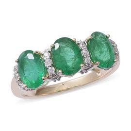 9K Yellow Gold AA Kagem Zambian Emerald (Ovl 7x5), Natural Cambodian White Zircon Trilogy Ring (Size S) 2.410