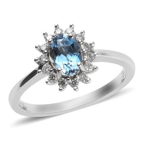 ILIANA 1 Carat AAA Santa Maria Aquamarine and Diamond Halo Ring in 18K White Gold SI GH