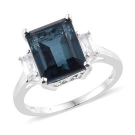Indicolite Quartz (Oct 4.10 Ct), White Topaz Ring in Sterling Silver  4.500 Ct.