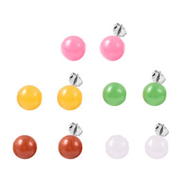 Set of 5 - Red, Green, Yellow, White and Pink Jade Stud Earrings (with Push Back) in Sterling Silver