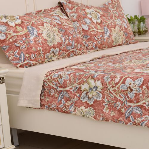 KING Size 4 Pcs. Printed Set Duvet Cover (Size 225x220 Cm), Fitted Sheet (Size 200x150 Cm) and 2 Pillow Cases (Size 75x50 Cm) with Chintz Design