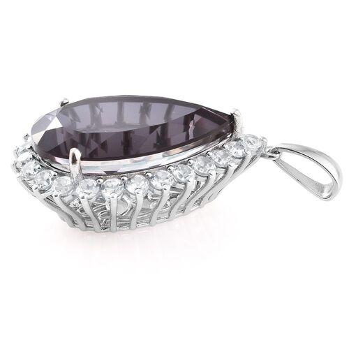 Alexandria Quartz (Pear 41.00 Ct), Natural Cambodian Zircon Pendant in Platinum Overlay Sterling Silver 48.000 Ct.
