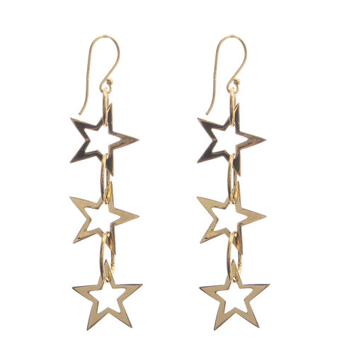 Yellow Gold Overlay Sterling Silver Star and Round Dangle Hook Earrings, Silver wt 3.63 Gms.